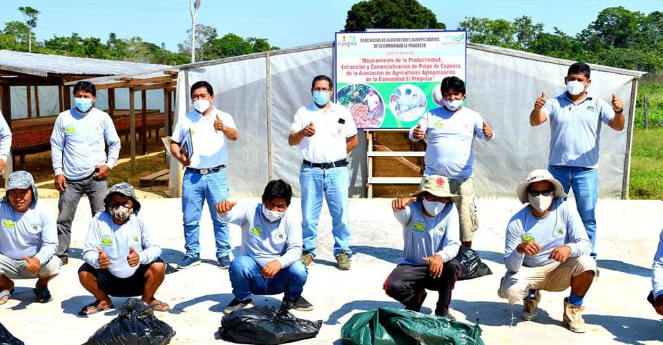 GOREMAD, DRA, PROYECTO CACAO LLEVARON APOYO A LOS AGRICULTORES EL PROGRESO, PARA IMPLEMENTAR CULTIVOS DE CACAO Y COOPOAZU