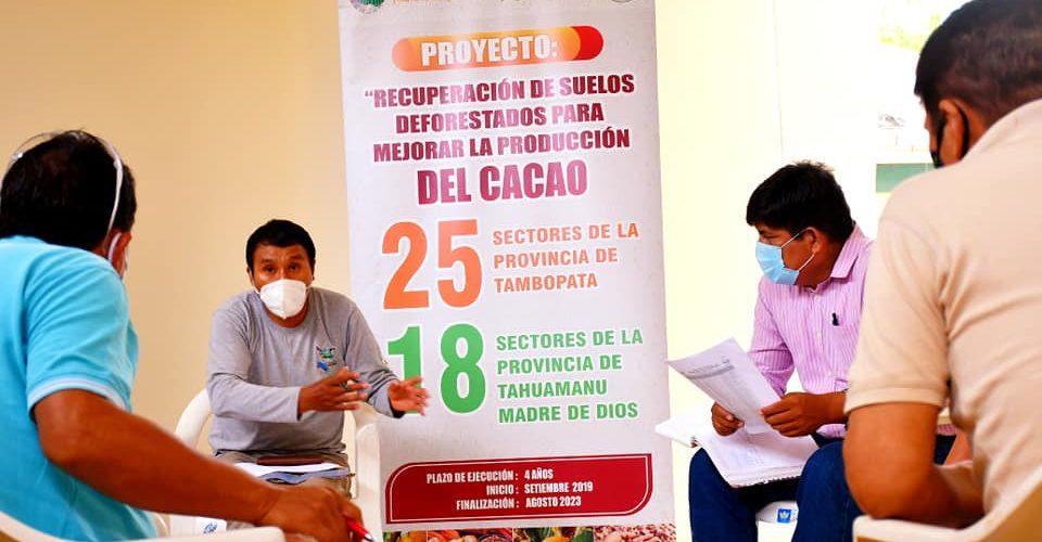 GOREMAD, PLANEA LA INSTALACIÓN MÁS DE 7 PARCELAS AGROFORESTALES DE CACAO EN EL ÁMBITO DE LA ZONA DE AMORTIGUAMIENTO DE LA RESERVA NACIONAL TAMBOPATA.